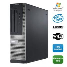 PC DELL Optiplex 390 DT G630 2.7Ghz 4Go 2000Go Graveur DVD WIFI HDMI Win 7 Pro