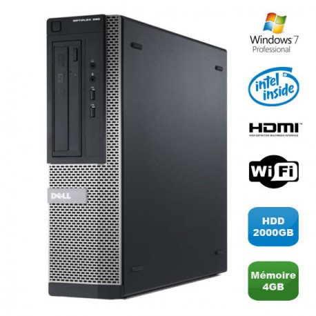 PC DELL Optiplex 390 DT G630 2.7Ghz 4Go 2000Go Graveur DVD WIFI HDMI Win 7 Pro