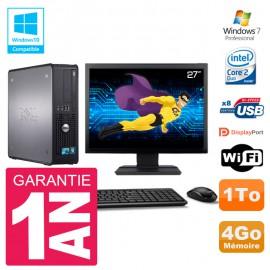"""PC Dell 780 SFF Ecran 27"""" Intel E8400 RAM 4Go Disque 1To Graveur DVD Wifi W7"""