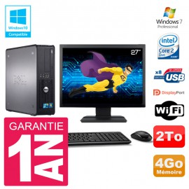 "PC Dell 780 SFF Ecran 27"" Intel E8400 RAM 4Go Disque 2To Graveur DVD Wifi W7"