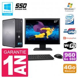 """PC Dell 780 SFF Ecran 27"""" Intel E8400 RAM 4Go SSD 960Go Graveur DVD Wifi W7"""