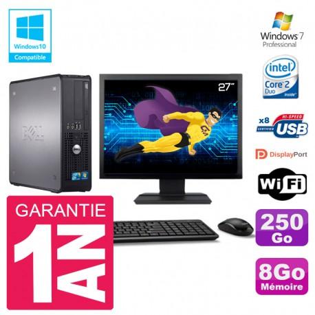 """PC Dell 780 SFF Ecran 27"""" Intel E8400 RAM 8Go Disque 250Go Graveur DVD Wifi W7"""