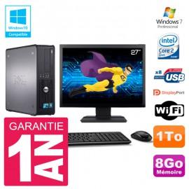 """PC Dell 780 SFF Ecran 27"""" Intel E8400 RAM 8Go Disque 1To Graveur DVD Wifi W7"""