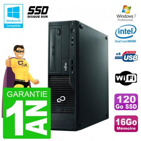 PC Fujitsu Esprimo E500 E85+ DT G640 RAM 16Go SSD 120Go DVD Wifi W7