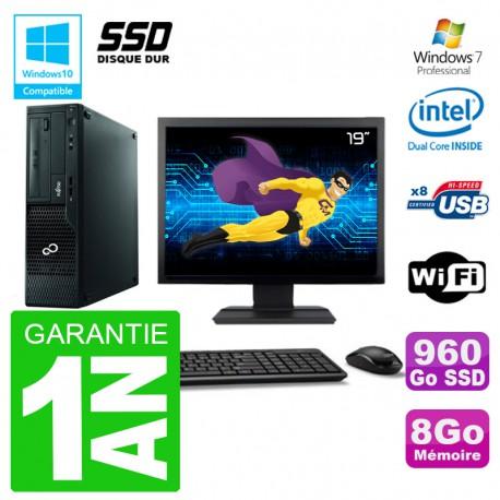"""PC Fujitsu Esprimo E500 E85+ DT Ecran 19"""" G640 RAM 8Go SSD 960Go DVD Wifi W7"""