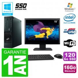 """PC Fujitsu Esprimo E500 E85+ DT Ecran 19"""" G640 RAM 16Go SSD 120Go DVD Wifi W7"""