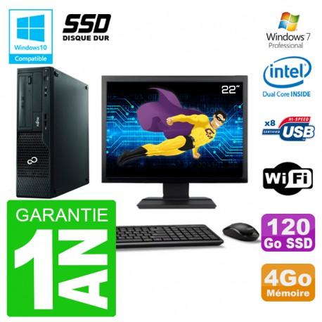 """PC Fujitsu Esprimo E500 E85+ DT Ecran 22"""" G640 RAM 4Go SSD 120Go DVD Wifi W7"""