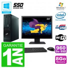 """PC Fujitsu Esprimo E500 E85+ DT Ecran 22"""" G640 RAM 8Go SSD 960Go DVD Wifi W7"""