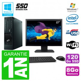 """PC Fujitsu Esprimo E500 E85+ DT Ecran 27"""" G640 RAM 8Go SSD 120Go DVD Wifi W7"""
