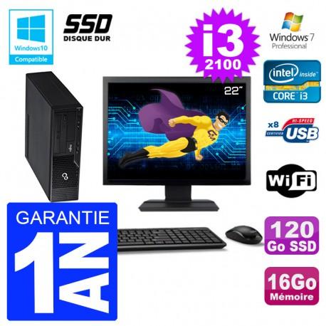 """PC Fujitsu Esprimo E500 E85+ DT Ecran 22"""" i3-2100 RAM 16Go SSD 120Go DVD Wifi W7"""