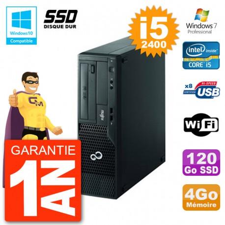 PC Fujitsu Esprimo E500 E85+ DT i5-2400 RAM 4Go SSD 120Go DVD Wifi W7