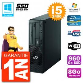 PC Fujitsu Esprimo E500 E85+ DT i5-2400 RAM 8Go SSD 960Go DVD Wifi W7