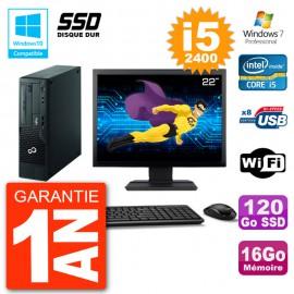 """PC Fujitsu Esprimo E500 E85+ DT Ecran 22"""" i5-2400 RAM 16Go SSD 120Go DVD Wifi W7"""