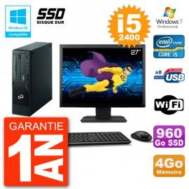 """PC Fujitsu Esprimo E500 E85+ DT Ecran 27"""" i5-2400 RAM 4Go SSD 960Go DVD Wifi W7"""