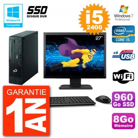 """PC Fujitsu Esprimo E500 E85+ DT Ecran 27"""" i5-2400 RAM 8Go SSD 960Go DVD Wifi W7"""