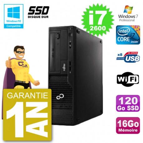 PC Fujitsu Esprimo E500 E85+ DT i7-2600 RAM 16Go SSD 120Go DVD Wifi W7