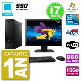 """PC Fujitsu Esprimo E500 E85+ DT Ecran 19"""" i7-2600 RAM 16Go SSD 960Go DVD Wifi W7"""