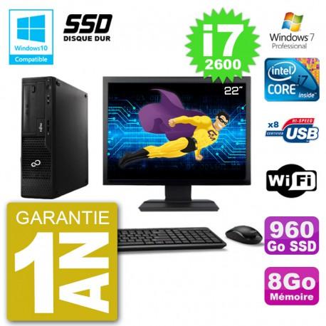 """PC Fujitsu Esprimo E500 E85+ DT Ecran 22"""" i7-2600 RAM 8Go SSD 960Go DVD Wifi W7"""