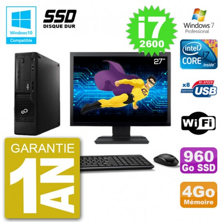 """PC Fujitsu Esprimo E500 E85+ DT Ecran 27"""" i7-2600 RAM 4Go SSD 960Go DVD Wifi W7"""