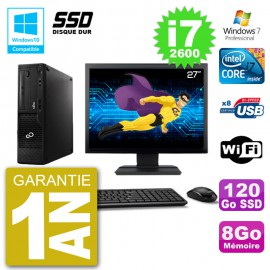 """PC Fujitsu Esprimo E500 E85+ DT Ecran 27"""" i7-2600 RAM 8Go SSD 120Go DVD Wifi W7"""