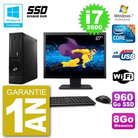 """PC Fujitsu Esprimo E500 E85+ DT Ecran 27"""" i7-2600 RAM 8Go SSD 960Go DVD Wifi W7"""