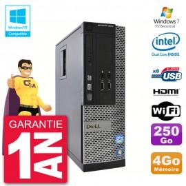 PC Dell 3010 SFF Intel G2020 RAM 4Go Disque 250Go Graveur DVD Wifi W7