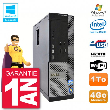 PC Dell 3010 SFF Intel G2020 RAM 4Go Disque 1To Graveur DVD Wifi W7