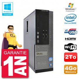 PC Dell 3010 SFF Intel G2020 RAM 4Go Disque 2To Graveur DVD Wifi W7