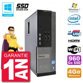 PC Dell 3010 SFF Intel G2020 RAM 4Go SSD 960Go Graveur DVD Wifi W7