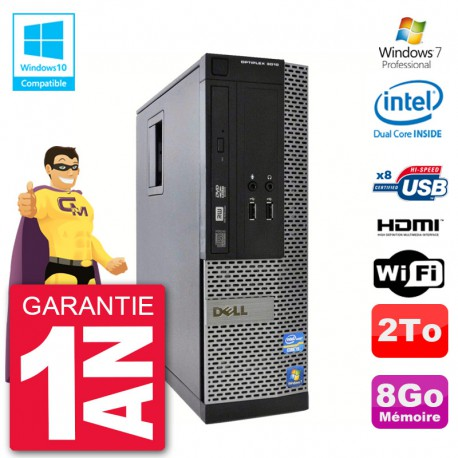 PC Dell 3010 SFF Intel G2020 RAM 8Go Disque 2To Graveur DVD Wifi W7