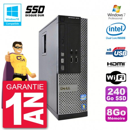 PC Dell 3010 SFF Intel G2020 RAM 8Go SSD 240Go Graveur DVD Wifi W7