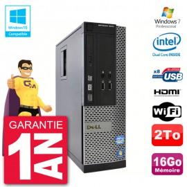 PC Dell 3010 SFF Intel G2020 RAM 16Go Disque 2To Graveur DVD Wifi W7