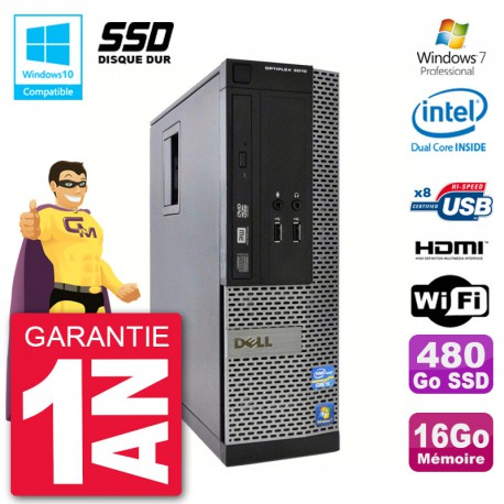 PC Dell 3010 SFF Intel G2020 RAM 16Go SSD 480Go Graveur DVD Wifi W7