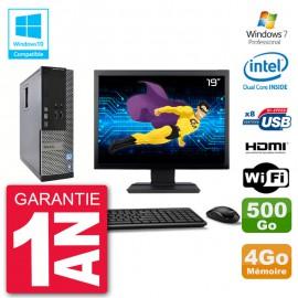 """PC Dell 3010 SFF Ecran 19"""" Intel G2020 RAM 4Go Disque 500Go Graveur DVD Wifi W7"""