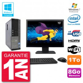 "PC Dell 3010 SFF Ecran 19"" Intel G2020 RAM 8Go Disque 1To Graveur DVD Wifi W7"