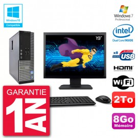"PC Dell 3010 SFF Ecran 19"" Intel G2020 RAM 8Go Disque 2To Graveur DVD Wifi W7"