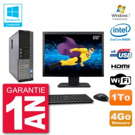 "PC Dell 3010 SFF Ecran 22"" Intel G2020 RAM 4Go Disque 1To Graveur DVD Wifi W7"
