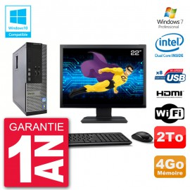 "PC Dell 3010 SFF Ecran 22"" Intel G2020 RAM 4Go Disque 2To Graveur DVD Wifi W7"