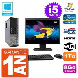 """PC Dell 3010 SFF Ecran 22"""" Intel i5-2400 RAM 8Go Disque 1To Graveur DVD Wifi W7"""