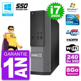 PC Dell 3010 SFF Intel i7-2600 RAM 8Go SSD 240Go Graveur DVD Wifi W7
