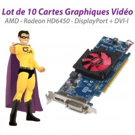 Lot x10 Cartes AMD Radeon HD6450 ATI-102-C26405 2FVV6 1Go DVI Display LowProfile