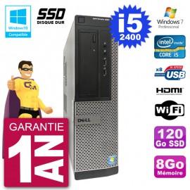 PC Dell 390 DT Intel i5-2400 RAM 8Go SSD 120Go Graveur DVD Wifi W7