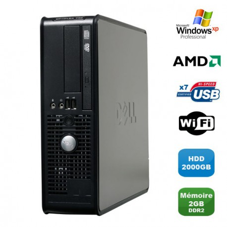 PC DELL Optiplex 740 SFF AMD Athlon 64 2.7GHz 2Go DDR2 2000Go WIFI DVD Win XP Pro