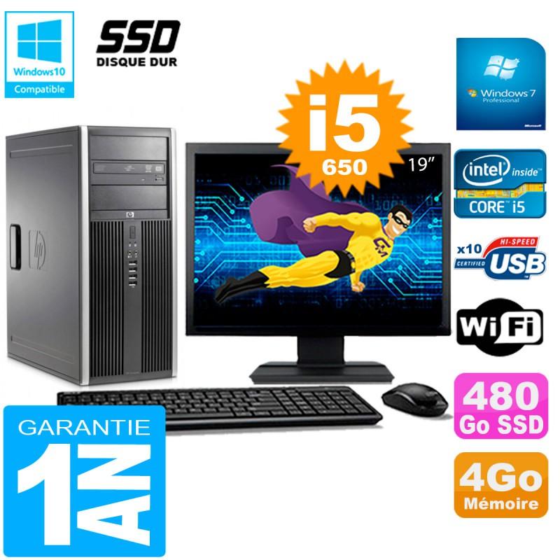 PC-HP-8100-Tour-Ecran-19-034-Core-i5-650-RAM-4Go-SSD-480Go-Graveur-DVD-Wifi-W7