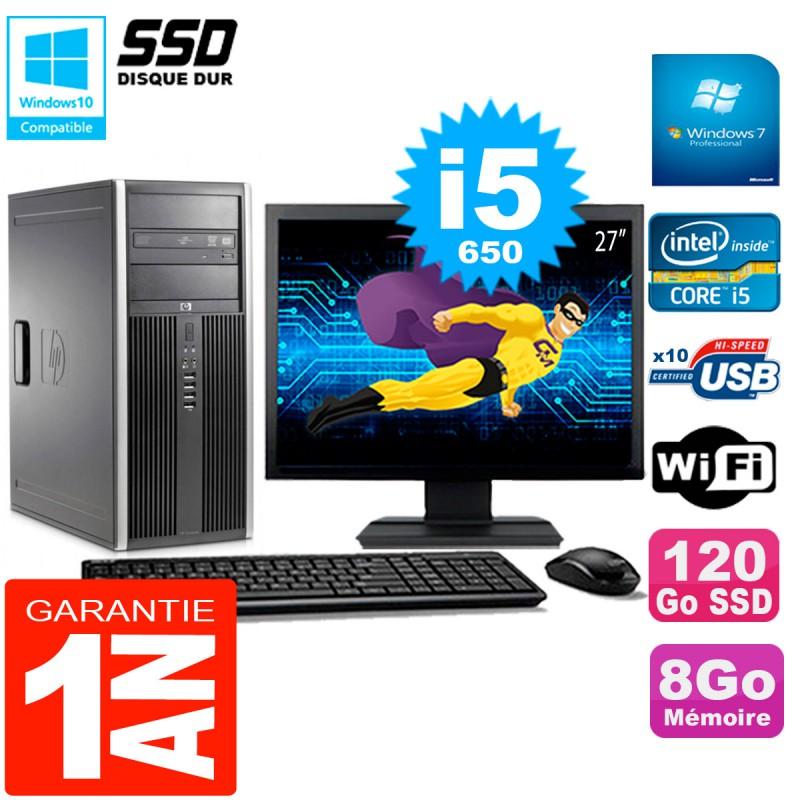 PC-HP-8100-Tour-Ecran-27-034-Core-i5-650-RAM-8Go-SSD-120Go-Graveur-DVD-Wifi-W7