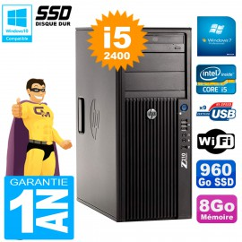 PC HP WorkStation Z210 Tour Core i5-2400 RAM 8Go SSD 960Go Graveur DVD Wifi W7