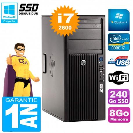 PC HP WorkStation Z210 Tour Core i7-2600 RAM 8Go SSD 240Go Graveur DVD Wifi W7