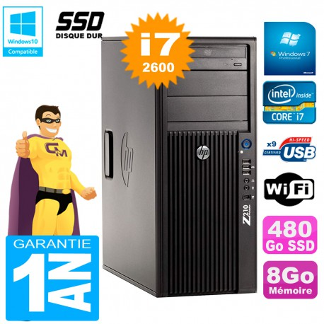 PC HP WorkStation Z210 Tour Core i7-2600 RAM 8Go SSD 480Go Graveur DVD Wifi W7