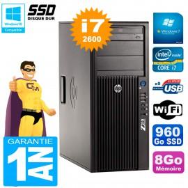 PC HP WorkStation Z210 Tour Core i7-2600 RAM 8Go SSD 960Go Graveur DVD Wifi W7