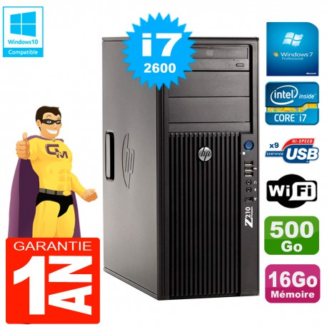 PC HP WorkStation Z210 Tour Core i7-2600 RAM 16Go 500Go Graveur DVD Wifi W7